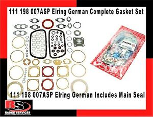 Vw Complete Elring Engine Gasket Set W main Seal 1600cc Germany 111 198 007asp