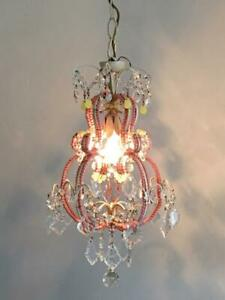 Antique Vtg Italian Tole Pink Opaline Beaded Petite French Crystal Chandelier