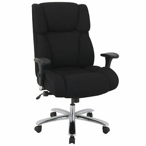 24 Hour Big And Tall Executive Fabric Chair Black Adjustable Arms High Back