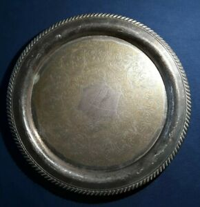Antique Vintage Silver Plate Serving Tray Wm A Rogers Brass Inlay
