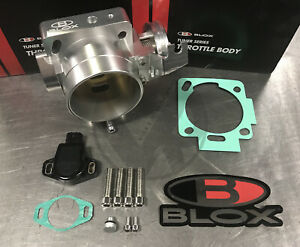 Blox 70mm Dual Pattern Silver Billet Throttle Body With Tps For Honda K20 K24