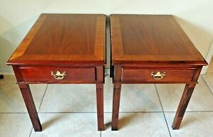Pair Antique Vtg Hickory Chair Co James River Plantation Mahogany Side End Table