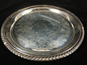 Vtg Wm Rogers Silverplate Serving 10 Etched Round Tray 870 Braided Rope Edge