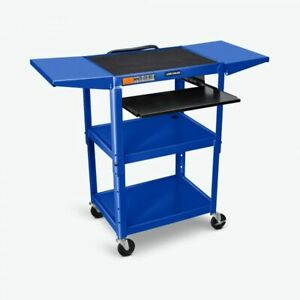 Luxor Adjustable Height Blue Metal A v Cart W Pullout Keyboard Tray 2 Drop