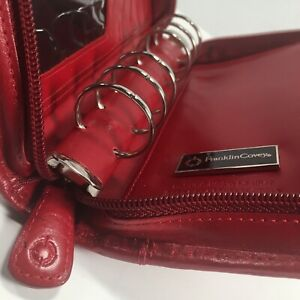 Franklin Covey Pocket Size Italian Calfskin Red Leather Small Planner Organizer