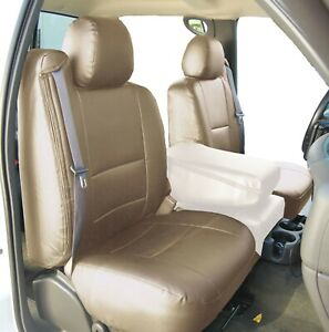 Chevy Silverado 2000 2002 Beige S leather Custom Made Fit 2 Front Seat Covers