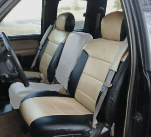 Chevy Silverado 2000 2002 Black beige S leather Custom Made 2 Front Seat Covers