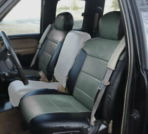 Chevy Silverado 2000 02 Black Charcoal Custom Made S Leather 2 Front Seat Covers