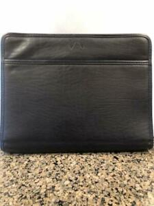 Leather Portfolio Full Zip Case Black Several Compartments Free Shipping