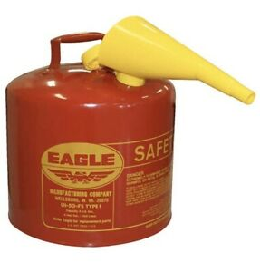 Eagle 5 gallon Metal Gasoline Can Red Gas Fuel Tank Steel New Pour Spout Funnel