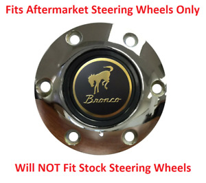 Chrome Steering Wheel 6 Hole Horn Button W Classic Ford Bronco Emblem Volante