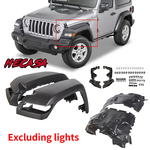 For 2018 20 Jeep Wrangler Jl Rubicon Smooth Fender High Top Flares Front 4pcs