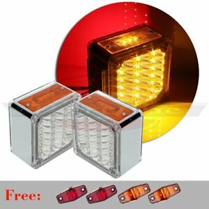 2x Red yellow Car Running Tail Turn Lamp 39 Led 12v For Truck 4x Free Lights