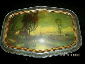 Antique Deluxe Art Studio Chicago Print 14 X 21 Convex Bubble Glass Frame Fs