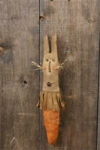 New Primitive Grungy Bunny Carrot Rabbit Easter Doll Hanging 22 Country