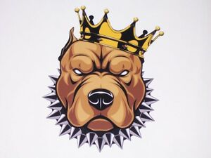 Angry Pit Bull Dog King Graphic Decal Diesel Fit Mack Golf Cart Sticker Truck