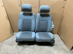 2013 Ford F250 F350 Super Duty Front Bucket Cloth Seats Gray In Color