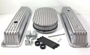 Finned Aluminum Valve Covers For Small Block Chevy W 15 Air Cleaner
