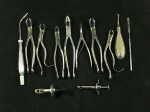Vintage Dentist Lot 12 Dental Instruments Pliers Syringes Tools Etc