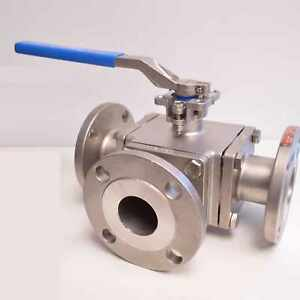 Anix 3 Inch T Port 3 way Ball Valve Flanged Class 150 Stainless Steel Api 598