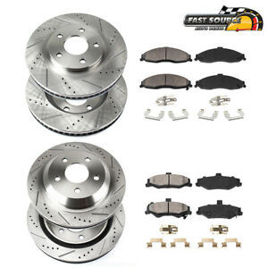 For 2011 2014 Ford Mustang Front Rear Drill Slot Brake Rotors Ceramic Pads