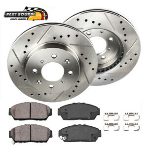 Front Drill Slot Brake Rotors Ceramic Pads For Honda Civic Del Sol Crx