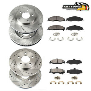 Front rear Drill Slot Brake Rotors Ceramic Pads For 2012 2013 2017 Ford Focus