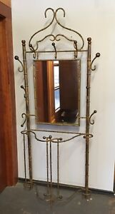 Vintage Hollywood Regency Hall Tree Umbrella Stand Mirror Coat Rack Faux Bamboo