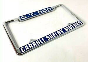Chrome Metal License Plate Frame For Ford Mustang Gt500 Carroll Shelby Motors