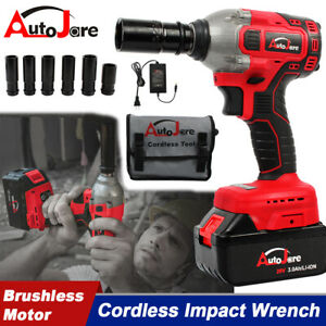 Portable 1 2 20v Cordless Impact Wrench Brushless Torque Rattle Gun Electric