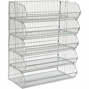 Stackable Wire Storage Bin Rack 36 w X 20 d X 48 h 5 Wire Bins