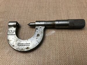 Vintage Brown Sharpe 0 To 1 Us V 32 40 Thread Micrometer