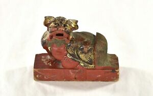 Antique Chinese Multicolored Wooden Carved Statue Fu Foo Dog Lion