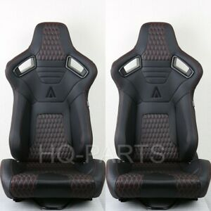 2 Tanaka Premium Black Carbon Pvc Leather Racing Seats Red Stitch Fits Mustang