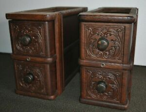 4 2x2 Antique Treadle Sewing Machine Drawers With Frames Solid Oak Vg Ec