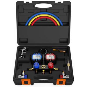 Elitech Dmg 3 Ac Manifold Gauge Set Kit 2 Way Fits R134a R410a R22 Refrigerants