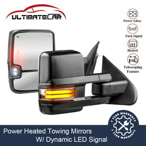 2x Power Heated Dynamic Led Signal Tow Mirrors For 14 19 Chevy Gmc 1500 2500 Hd