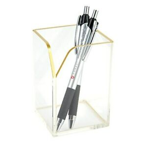 Brand New Realspace Acrylic Pencil Cup 100 Recycled Clear gold