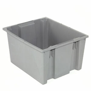 Stack And Nest Shipping Container No Lid 29 1 2x19 1 2x15 Gray Lot Of 3