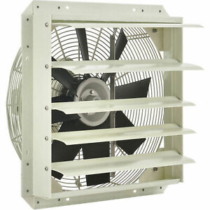 Corrosion Resistant Exhaust Fan With Shutter 18 Diameter Direct Drive 1 4