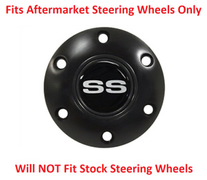 Black Steering Wheel 6 Hole Horn Button W Silver Chevrolet Ss Emblem