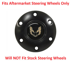 Black Steering Wheel 6 Hole Horn Button W Gold Pontiac Firebird Emblem