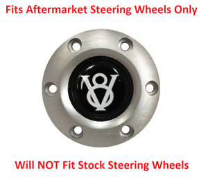 Brushed Steering Wheel 6 Hole Horn Button W White Ford V8 Emblem