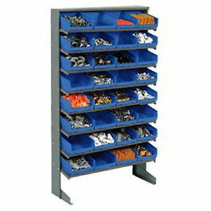 Floor Rack 8 Shelves W 32 8 w Blue Bins 33x12x61