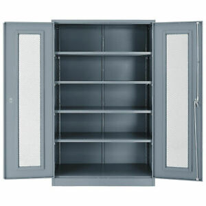 Assembled Storage Cabinet With Expanded Metal Door 48x24x78 Gray