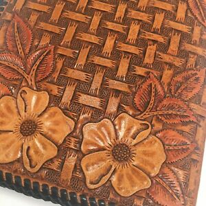 Hand Tooled Leather Vintage Pad Folio Moleskin Notebook 8 3 4 X 5 3 4 Kms