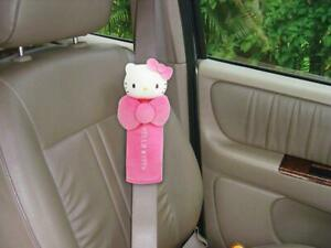 New Hello Kitty Bow Kno Car Seat Belt Shoulder Pads 2pcs Car Accessories Pink