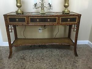 Maitland Smith Faux Bamboo Entry Curio Table Console Cabinet Maitland Smith