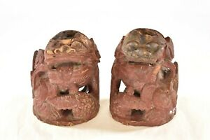 Pair Antique Chinese Red Wooden Carved Statue Of Fu Foo Dog Lion 19th C