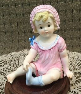 Vintage Germany Bisque Porcelain Piano Baby Figurine Girl 6 Tall